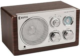 König HAV-TR1000 retro mörk trä tabell radio