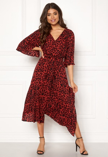 AX Paris Animal Wrap Front Dress Red XS (UK8)