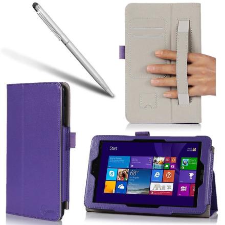 i-BLASON-Asus VivoTab Note 8 Case - Lær bokomslaget Bonus posisjons...