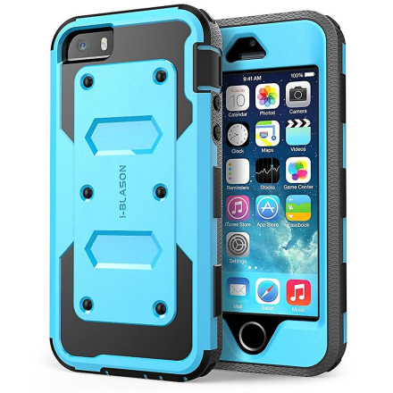 i-Blason-Eple iPhone 5S Case-Armorbox Dual Layer hylster Case - blå