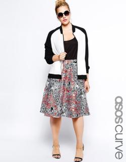 ASOS CURVE exklusiva Midi kjol i tryckta Scuba UK 22