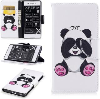 Sony Xperia Xa1 Mønster Magnetisk PU Lær Flip Etui - Panda