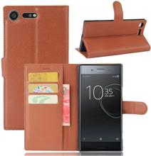 Sony Xperia Xz Premium Litchi Skinn Tekstur PU Lær Flip Etui - Brun