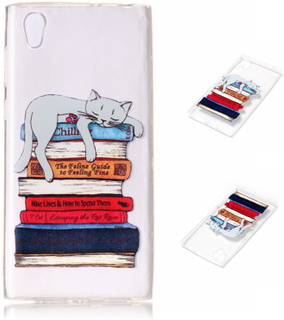 Sony Xperia L1 embossed soft TPU case - Cat Sleeping on Books