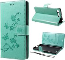 Sony Xperia Xz Premium Avtrykk Sommerfugl Blomst Magnetisk Flip Etui - Cyan