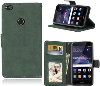 Huawei Honor 8 Lite Matt Crazy Horse Tekstur PU Lær Flip Etui - Grønn