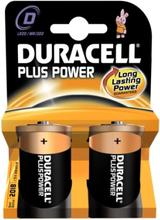 Duracell Plus D Alkaline Batterier - 2 stk.