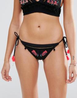 River Island Embroidered Tassel Side Bikini Brief-Black