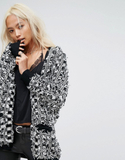 Religion Relaxed Cardigan In Textured Checkerboard