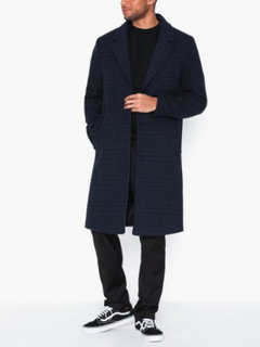 Topman Blue and Black Check Houndstooth Overcoat Jakker & frakker Dark Blue