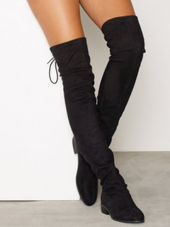 NLY Shoes Flat Thigh High Boot Over the knee Svart