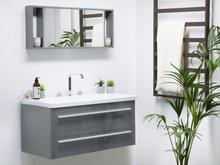 Beliani Badrumsmöbler väggskåp spegel och tvättställ grå BARCELONA
