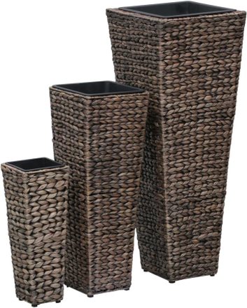 vidaXL Odlingslådor 3 st vattenhyacint mörkbrun