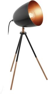 EGLO bordlampe CHESTER sort og kobberfarvet 49385