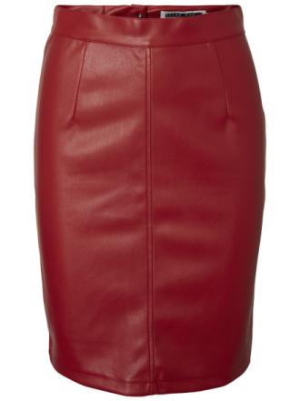 NOISY MAY Imitation Leather Skirt Women Red