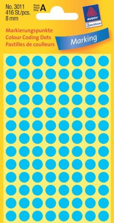 Etiket Avery blå Ø8mm 1pak/416etik. 3011