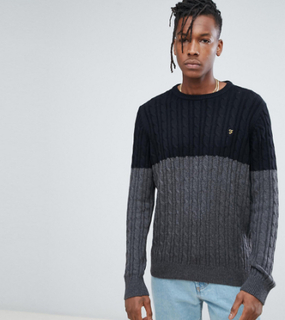 Farah Ludwig Twisted Yarn Cable Knit Jumper in Black - Black