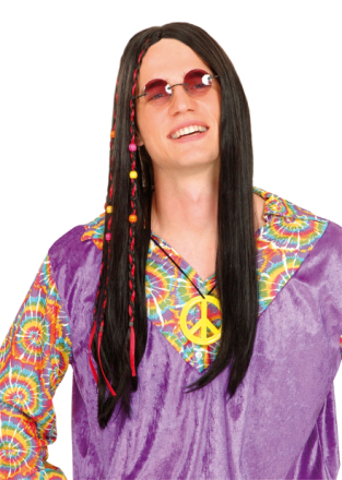 Svart hippieperuk vuxna One-size