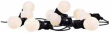 Markslöjd Dakke ljusslinga, 10 st LED, 4,5+3 meter, 24V, IP44, opal vit