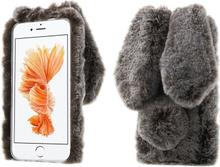 Fleksibelt deksel med kaninører og pels for iPhone 7 Plus / 8 Plus - Brun