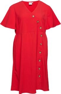 Jrabine 2/4 Sleeve Below Knee Dress - K Knelang Kjole Rød JunaRose