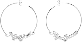 Marc Jacobs Silver New York Magazine Edition The Logo Hoop Earrings