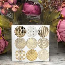 90Pcs Golden Geometry Circle Handmade Cake Packaging Sealing Label Kraft Sticker Baking DIY Work Gift Box Round Stickers