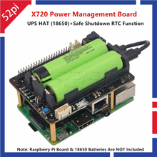 52Pi X720 Power Management Expansion Board with UPS HAT (18650 Not Include) Safe Shutdown Aluminum Case for Raspberry Pi 3B+/3B