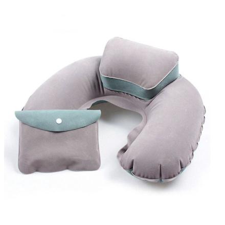 TRIXES Beige och grön uppblåsbar nackkudde mjuk Blow-Up Travel Pillow