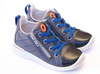 ECCO Ecco första Boys grå läderstövlar med blå skosnören
