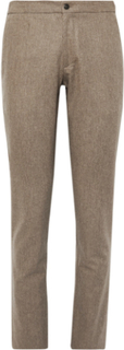Slim-fit Brushed Wool-twill Trousers - Brown