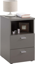 FMD Sängbord med 2 lådor och öppen hylla lavagrå