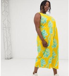 ASOS DESIGN Curve - Blommig jumpsuit i minimalistisk design med veckad midja - Blommig gul