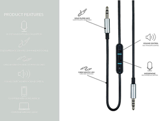 1,5 m byte Audio uppgradera kabel för Sony MDR-serien