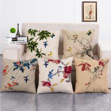 Tintenmalerei Blume Baumwolle Leinen Kissenbezug Home Decro Sofa Auto Kissenbezüge