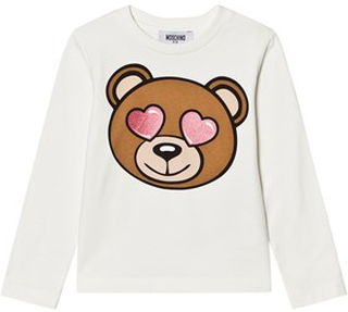 Moschino Kid-Teen White Heart Eye Bear Print Tee 12 years