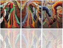 3Pcs Wohnzimmer rahmenlose Malerei Zusammenfassung Colorful Tier Pferd Dekoration Leinwandmalerei