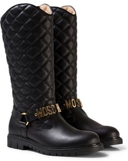 Moschino Kid-Teen Black Leather Quilted Branded Tall Boots 31 (UK 12.5)