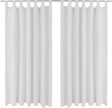 vidaXL 2-pack gardiner med öglor i vit microsatin 140 x 245 cm