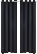 vidaXL 2-pack svarta mörkläggningsgardiner med metallringar 135 x 245 cm