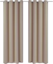 vidaXL 2-pack gräddvita mörkläggningsgardiner med metallringar 135 x 245 cm