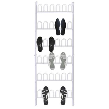vidaXL Skoställ för 18 par skor vitt stål