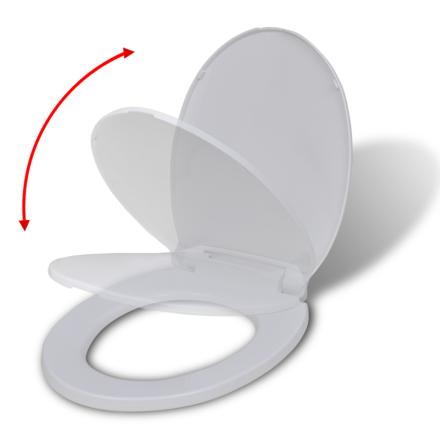 vidaXL WC-istuin pehmeästi sulkeutuva Valkoinen Soikea