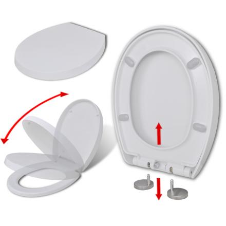 vidaXL soft close toiletsæde quick-release design oval hvid