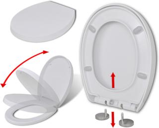 vidaXL Toalettsits mjuk stängning och snabbfäste oval vit