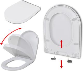 vidaXL soft close toiletsæde quick-release design firkantet hvid