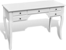 vidaXL Franskt skrivbord med svängda ben och 5 lådor trä