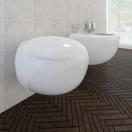 vidaXL Væghængt toilet- og bidetsæt keramik hvid