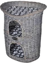 vidaXL Kattehus/-seng af pil til kæledyr, 2 niveauer, med kradsetræ og hynde