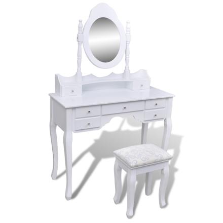 vidaXL Sminkbord med spegel och pall 7 lådor vit